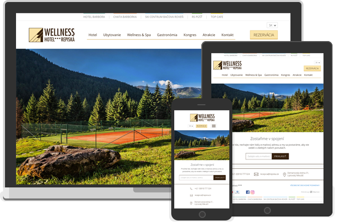 Webdesign for a network of hotels Repiska.sk